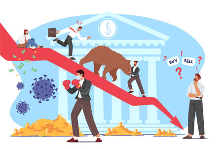 Bear Market at  Pandemic, Stock Market Panic Sell due to Epidemic. Business Investor Fighting with Cells 向量圖像