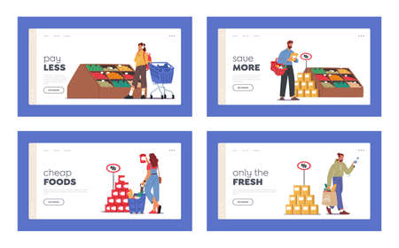 People Visiting Supermarket for Buying Grocery Landing Page Template Set. Characters Choosing Products in Store or Shop Иллюстрация
