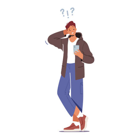 Confused Teenager Student Male Character Wearing Modern Clothes Trying to Figure Out with Smartphone, Mobile Connection 向量圖像
