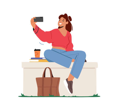 Young Woman Character Posing and Photographing on Mobile Phone Camera for Posting Pictures in Internet, Student Selfie
