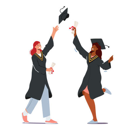 Cheerful Young Female Characters Wear Mantle and Academical Cap Hold Diploma Certificate Celebrating Graduation