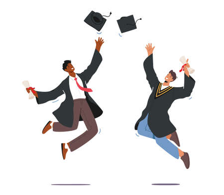 University Graduation, Male Characters in Graduation Gown Holding Diploma Certificate in Hand Throw Up Academical Cap