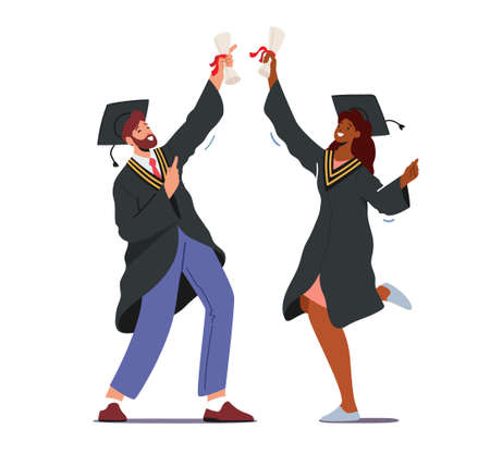 Male and Female Alumnus Characters Graduating University, College or School. Cheerful Graduates People in Academical Cap