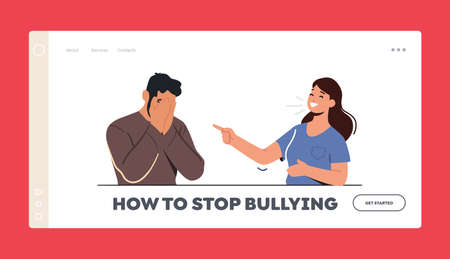 Stop Bullying Landing Page Template. Female Character Laugh on Man Sitting with Covered Face. Teen Crying, Bulling Abuse 向量圖像