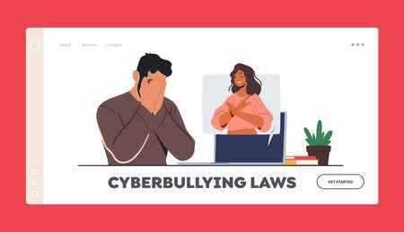 Cyberbullying Laws Landing Page Template. Woman Show Stop Gesture from Pc Monitor. Teen Character Crying front of Pc 版權商用圖片 - 168031006