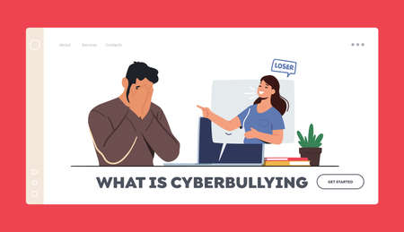 Cyberbullying Abuse Landing Page Template. Woman Laughing on Man in Internet Network. Teen Character Crying front of Pc 向量圖像