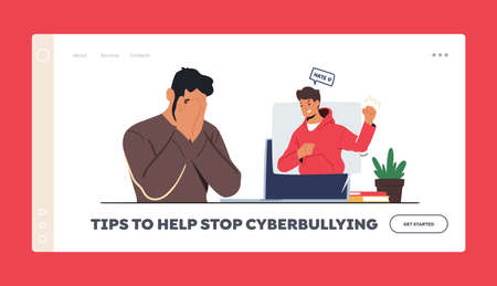 Tips to Stop Cyberbullying Landing Page Template. Cyber Bullying. Hater Troll Male Character Laughing on Man in Internet 向量圖像