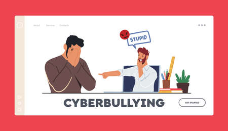 Cyberbullying Landing Page Template. Hater Laughing on Man Online. Teen Character Crying front of Computer Screen 向量圖像