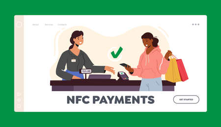 NFC Technologies Landing Page Template. Contactless Payment with Card Reader Machine. Female Character in Supermarket 向量圖像