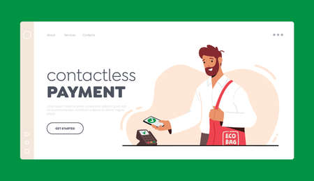 Cashless Wireless Payment NFC Technology Landing Page Template. Man Holding Smartphone with App for Online Payment