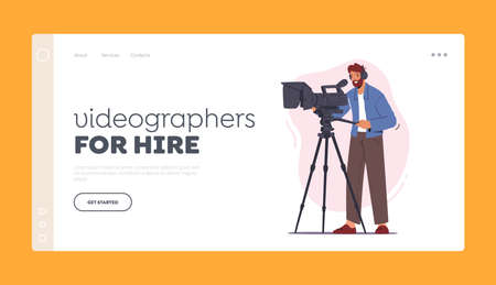 Videographers for Hire Landing Page Template. Professional Cameraman Male Character Record Video or Movie on Camera