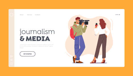 Journalism and Media Landing Page Template. Videographer or Cameraman Character with Camera Recording Tv Reporter