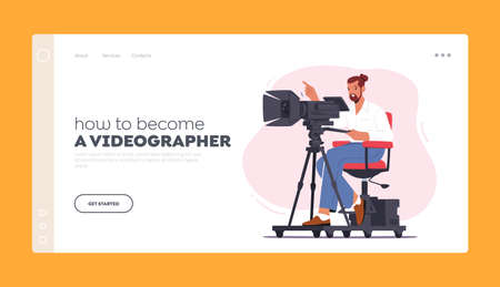 Videographer Landing Page Template. Professional Cameraman Character Sit on Special Platform with Camera Record Video