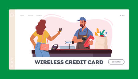 Noncontact Payment Landing Page Template. Female Customer Character Stand in Supermarket Prepare Credit Card