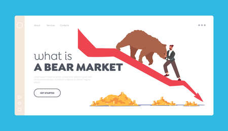 What is Bear Market Landing Page Template. Stock Crisis. Business Character Trying Stop Bear Going Down with Drop Arrow