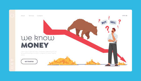 We Know Money Landing Page Template. Trader Searching Wise Financial Solution for Money. Doubtful Businessman Character