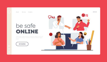 Cyberbullying Network Abuse and Harassment Landing Page Template. Cyber Bullying Problem. Haters Character on Pc Screen