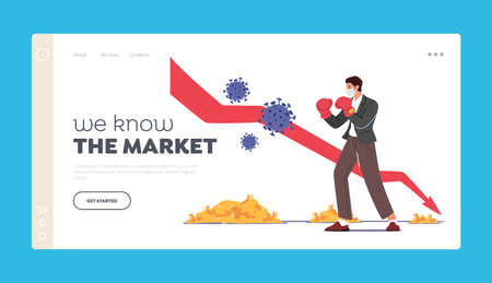 We Know the Market Landing Page Template. Business Man Character Fighting with Huge  Cells near Drop Arrow 向量圖像