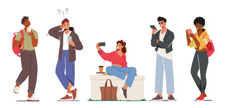 Set of Young Characters with Phones, Teens Smartphone Communication Concept. Youth Men and Women Holding Mobiles