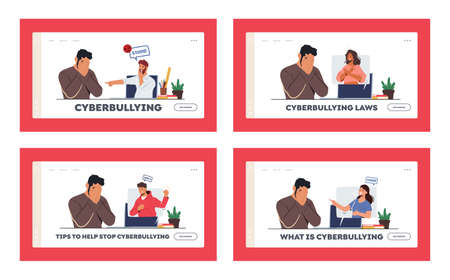 Cyber Bullying Harassment Landing Page Template Set. Teen Character Crying front of Computer Screen after Being Bullied