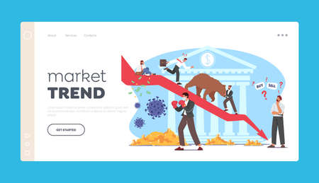 Bear Market Trend at  Pandemic Landing Page Template. Stock Panic Sell due to Epidemic. Business Characters Fight 版權商用圖片 - 168032520