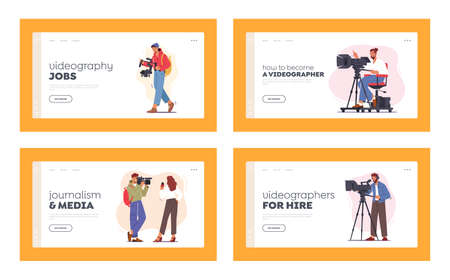 Mass Media Industry Profession Landing Page Template Set. Professional Videographer Characters Record Video or Movie