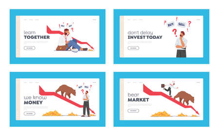 Bear Market Trend at Covid Landing Page Template Set. Stock Panic Sell due to Epidemic. Business Characters Fighting 版權商用圖片 - 168032664
