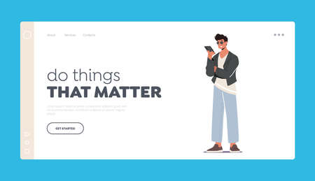 Do Things That Matter Landing Page Template. Teenager Student Male Character Looking on Screen of Smartphone