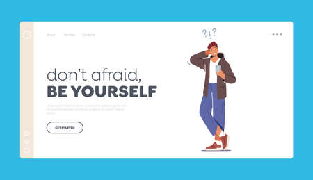 Dont Afraid Be Yourself Landing Page Template. Confused Teenager Student Male Character Figure Out with Smartphone