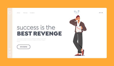Success is the Best Revenge Landing Page Template. Confused Man Scratching Occiput Trying to Figure Out with Document