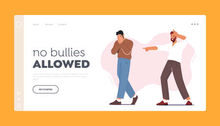 Bullying, Abuse Landing Page Template. Hater Laughing on Man Showing Loser Gesture. Male Character Crying Covering Face