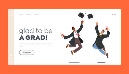 Men Alumnus Celebrating Glad to be Grad Landing Page Template. University Graduation, Male Characters in Graduation Gown