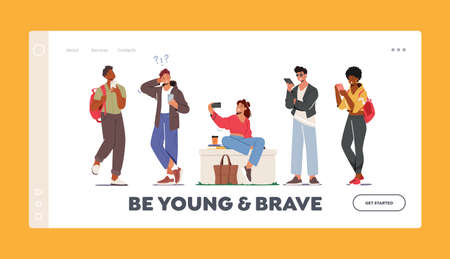 Be Young and Brave Landing Page Template. Young Characters with Phones, Teens with Smartphone. Mobile Chatting, Calling