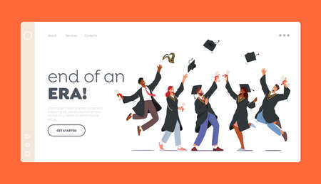 Finish University Education Landing Page Template. Group of Characters in Graduation Gowns and Caps Rejoice, Jumping 向量圖像