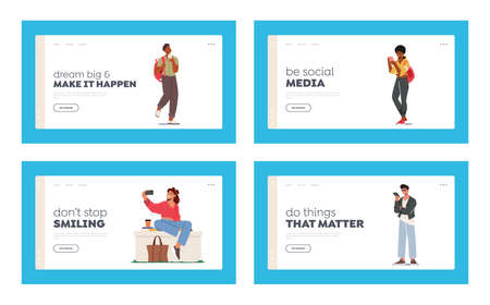 Young Characters with Phones, Teens Smartphone Communication Landing Page Template Set. Youth People Holding Mobiles