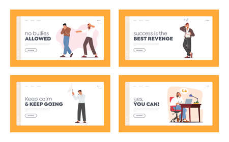 Male Characters Losers Landing Page Template Set. Businessman Deleted Important Data from Computer, Hater Laughing 版權商用圖片 - 168032729