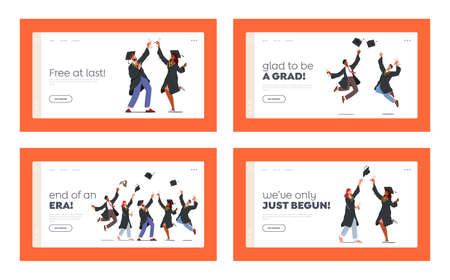 Finish University Education Landing Page Template Set. Characters Group in Graduation Gowns and Caps Rejoice, Jumping