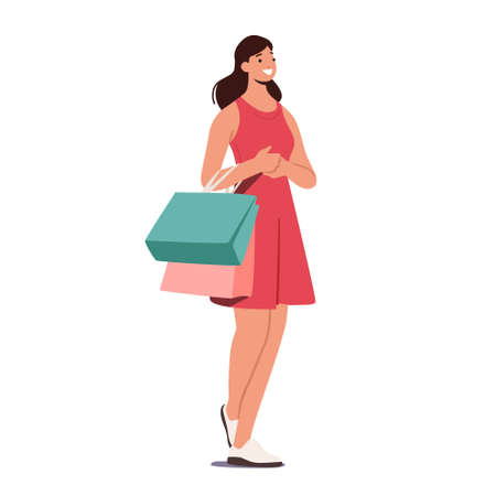 Cheerful Shopper Girl with Purchases in Colorful Paper Bags. Happy Woman Use Personal Fashion Stylist Service, Shopping 版權商用圖片 - 168032731