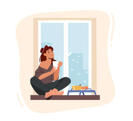 Girl Breakfast, Home Relaxation. Young Woman Sitting on Windowsill with Cup, Drinking Coffee with Fruits at Morning