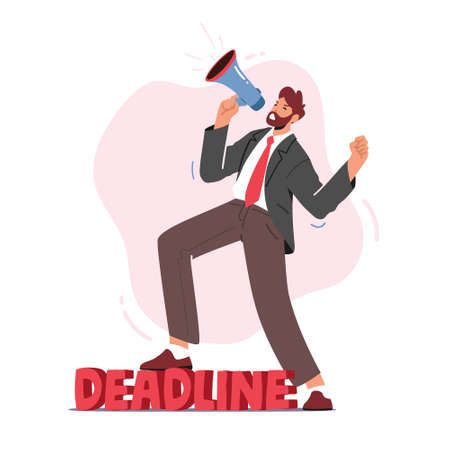 Anxious Businessman Yell in Loudspeaker in Office. Angry Company Boss Character Hurry Workers with Job during Deadline