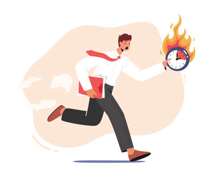 Deadline, Lack of Time, Work Productivity, Business Working Process Organization Concept. Anxious Businessman Run 向量圖像