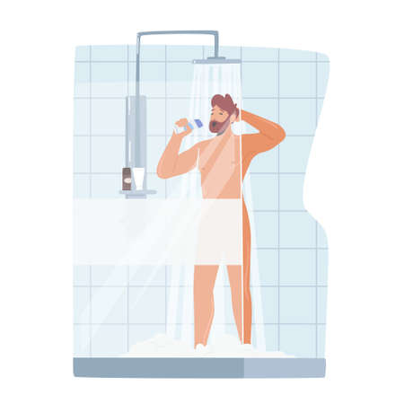 Man Singing in Shower, Naked Happy Character Bathing Hygiene Washing Procedure Imagine himself as Singer with Bottle 向量圖像