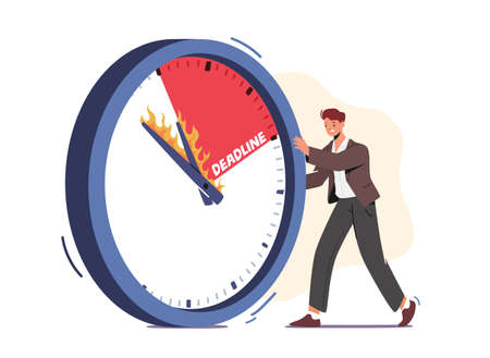 Businessman Character Pushing Huge Clock with Burning Arrows. Time Management, Lack of Time, Work Productivity, Deadline 向量圖像