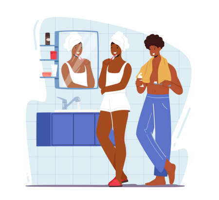 Young Woman and Man Stand front of Mirror in Bathroom and Brushing Teeth after Bath or Shower, Couple Morning Hygiene
