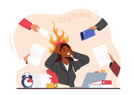 Overloaded Business Woman Holding Burning Head with Hands Sitting at Workplace with Messy Documents Heap in Office