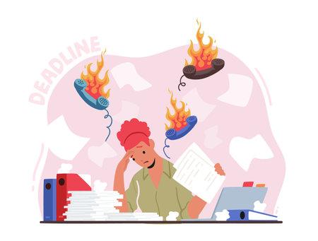 Deadline, Problem at Work Concept. Depressed Stressed Businesswoman Sitting Under Burning Phone Tubes over Head 向量圖像