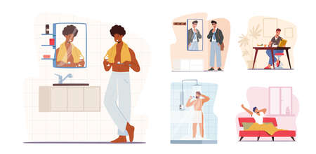 Set Man Daily Routine Concept. Young Male Character Morning Hygiene Procedures Brushing Teeth, Taking Shower in Bathroom 向量圖像