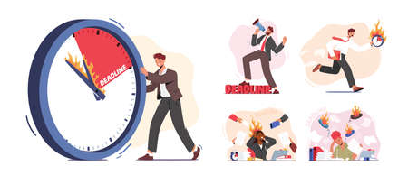 Set Business Character Deadline at Work. Clerks with Burning Clock in Messy Office. Lack of Time, Work Productivity
