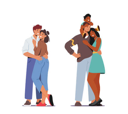Happy Family Relations. Loving Couple Embrace, Parents and Child Hugging. Mother and Father Hold Baby on Shoulders