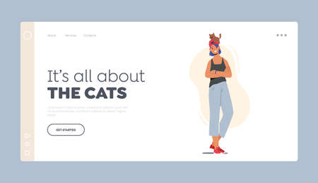 Love, Care of Animals Landing Page Template. Happy Woman with Cat Sitting on her Head. Female Character Caring of Pet